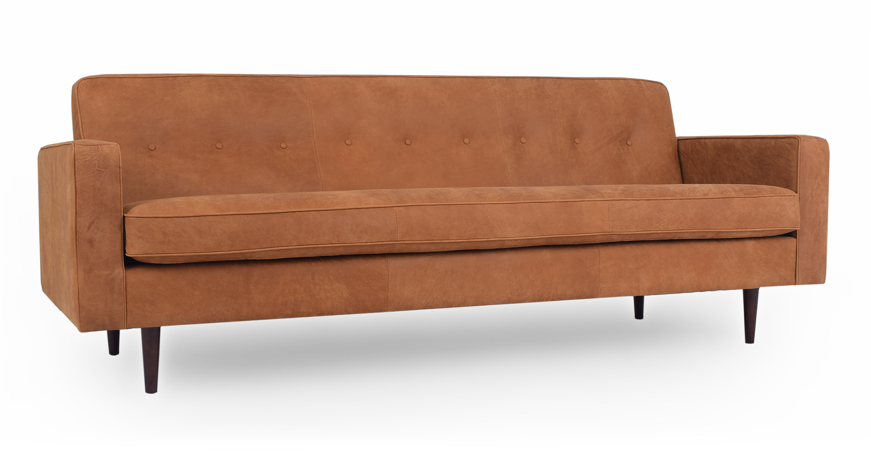 Picture of: Corrigan Studio Mickey Mid Century Leather Sofa Wayfair