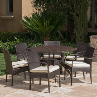 Outdoor 7 Piece Dining Set with Cushions ..