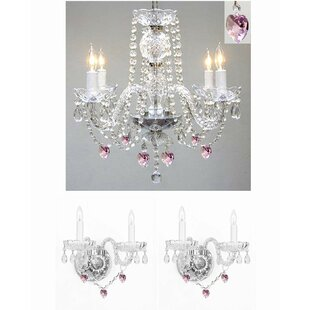 House of Hampton Keefe 3 Piece Candle Style Chandelier and Wall Sconce Set