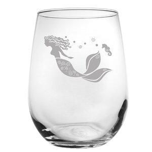 Mermaid 17 oz. Stemless Wine Glass (Set of 4)