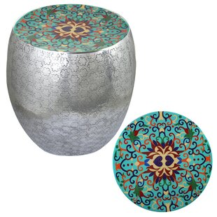 Halaka Damask Art Accent Stool by Bungalow Rose