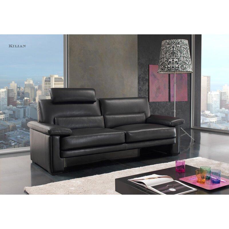 Brilliant Ismael Genuine Leather Sofa Interior Design Ideas Gentotthenellocom