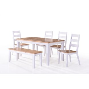Rona Dining Set With 4 Chairs And One Bench By Beachcrest Home