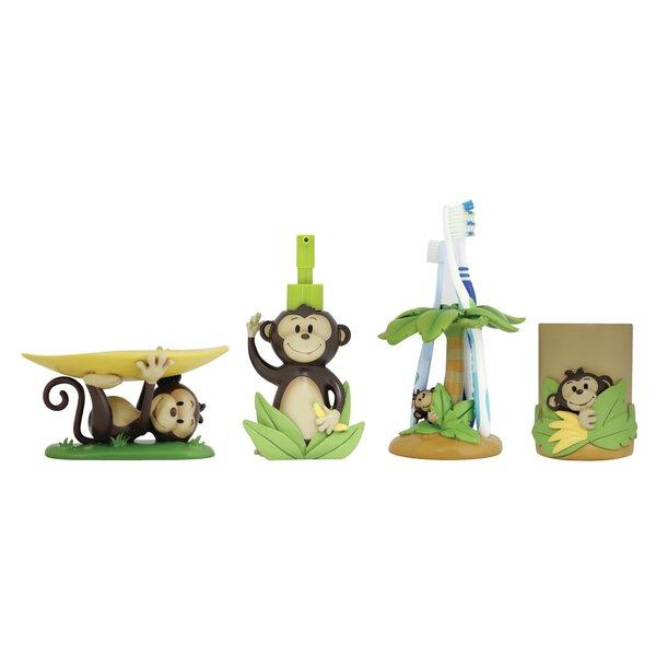Harriet Bee Wilmot Monkey Kids 4 Piece Bathroom Accessory Set Reviews Wayfair