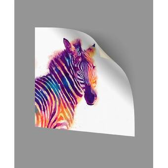 ArtWall Lindsey Janichs Zebras Purple Appeelz Removable Graphic Wall Art 18 by 18