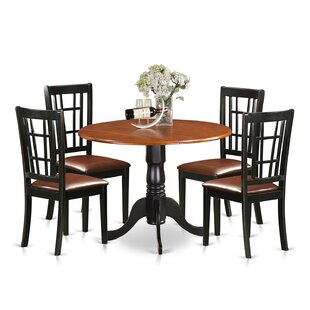 5 Piece Extendable Dining Set East West Furniture