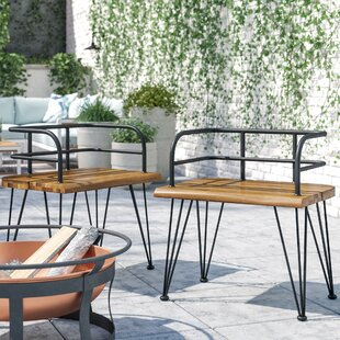Hansell Outdoor Industrial Patio Dining Chair (Set of 2)