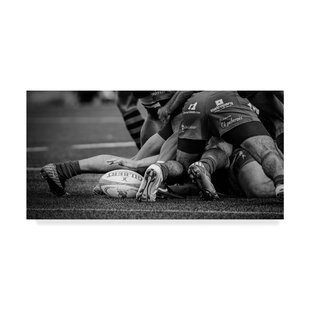 'Rugby Tackle' Photographic Print on Wrapped Canvas by East Urban Home