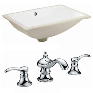 Royal Purple Bath Kitchen CUPC Ceramic Rectangular Undermount Bathroom Sink with Faucet and Overflow