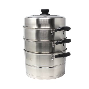 4 Piece 3 Tier Premium Steamer with Lid Set