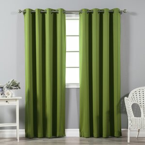 Great Solid Blackout Thermal Grommet Curtain Panels (Set Of 2)