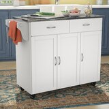 Garrettsville Kitchen Cart with Stainless Steel Top by Red Barrel Studio®
