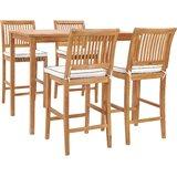 Dayne 5 Piece Teak Bar Height Dining Set with Cushions