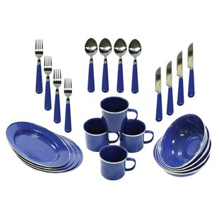 24 Piece C&ing Tableware Set Service for 4  sc 1 st  Wayfair : stainless steel dinnerware set - pezcame.com