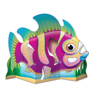 Glittered Fish Centerpiece Paper Disposable Figurine