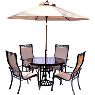 Bucci 5 Piece Dining Set with Table Umbrella and Base