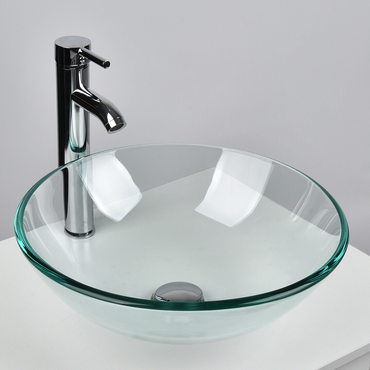 Rays Clear Tempered Glass Hand Hammered Circular Vessel Bathroom Sink With Faucet Wayfair
