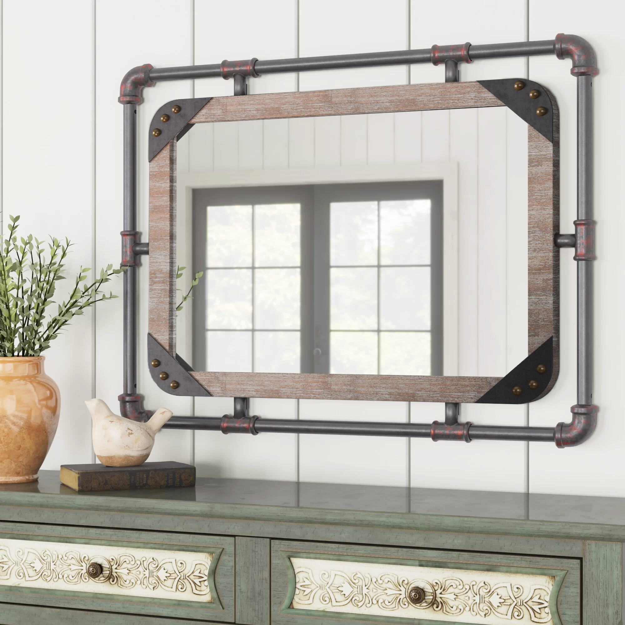 Brookwood Industrial Beveled Distressed Accent Mirror Reviews Birch Lane