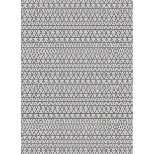 Best Hereford Trellis Wavy Lines Charcoal/Gray/Silver Area Rug ByWrought Studio