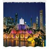 Chicago Skyline Shower Curtain Buildings Flag Print for Bathroom