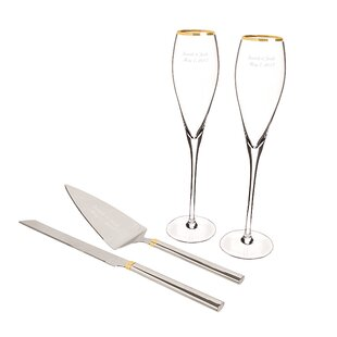 4 Piece Champagne Flutes and Cake Serving Set