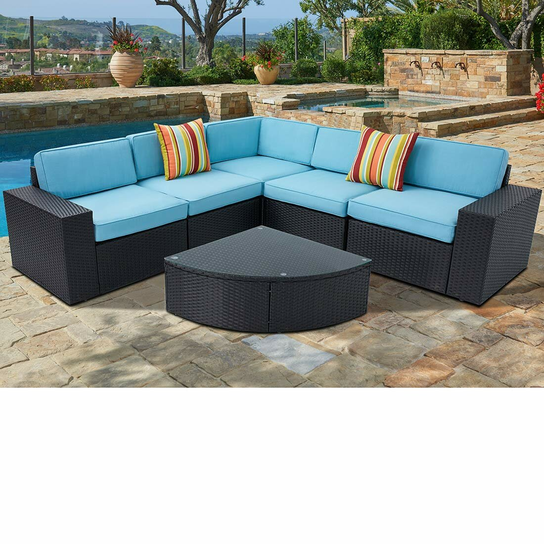 Terrific Rone Outdoor 6 Piece Black Wicker Sectional Sofa Wedge Table Set Spiritservingveterans Wood Chair Design Ideas Spiritservingveteransorg