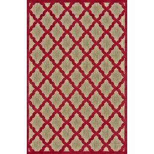 Fairlaine Tan/Red Indoor/Outdoor Area Rug