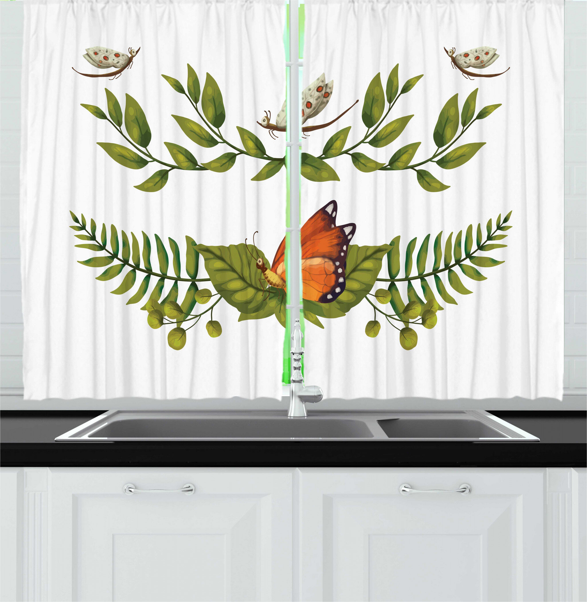 East Urban Home 2 Piece Insects Nature Outdoor Scene Illustration Of Leafy Branches And Butterflies Garden Art Kitchen Curtain Set Wayfair