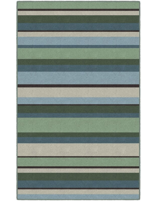 Winston Porter Phineas Striped Blue/Green Area Rug, Size: Rectangle 76 x 10
