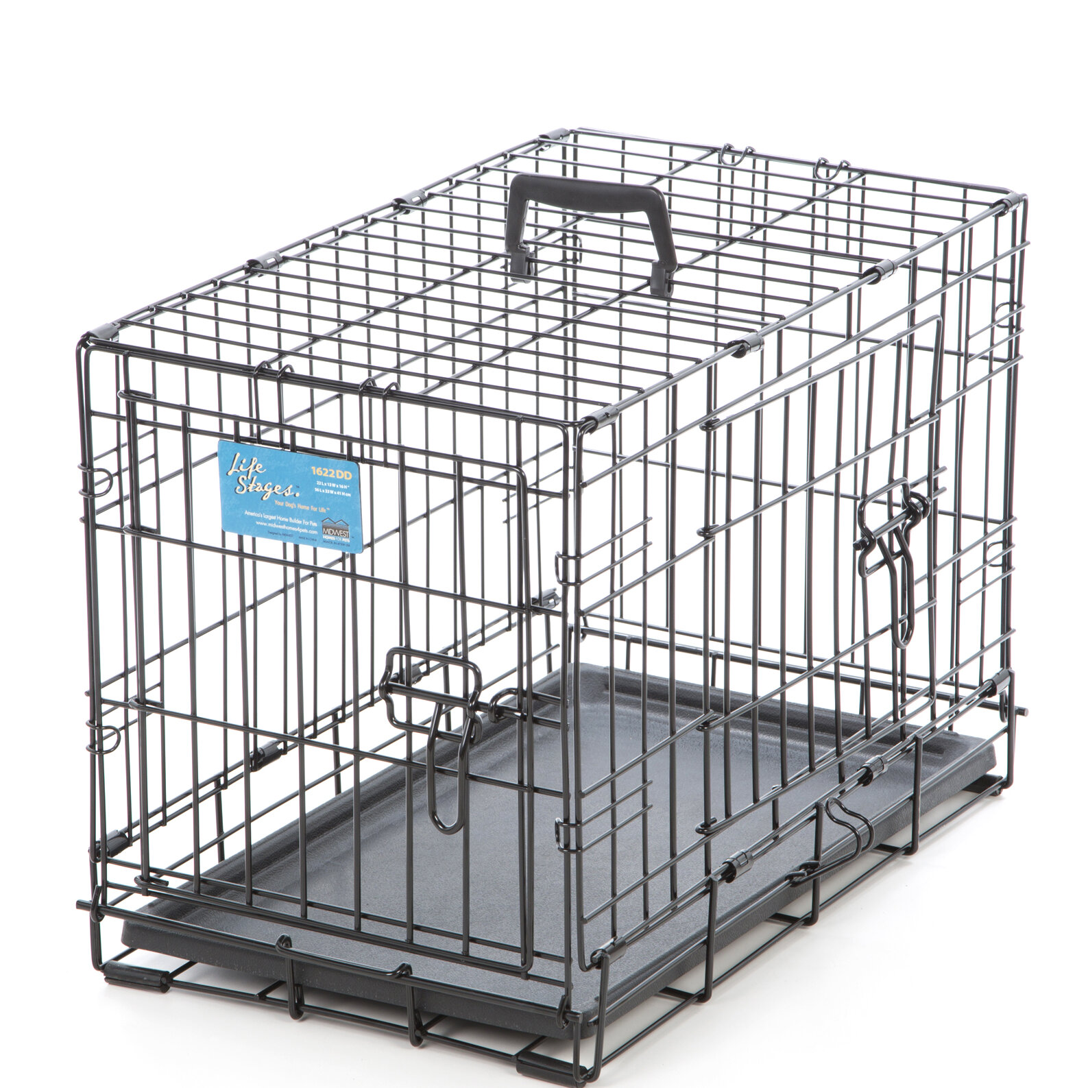 Midwest Homes For Pets Life Stages Fold U0026 Carry Double Door Pet Crate U0026  Reviews | Wayfair