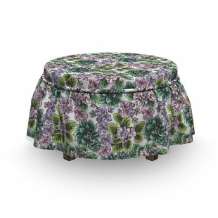 Violet Peonies Ottoman Slipcover (Set Of 2) By East Urban Home
