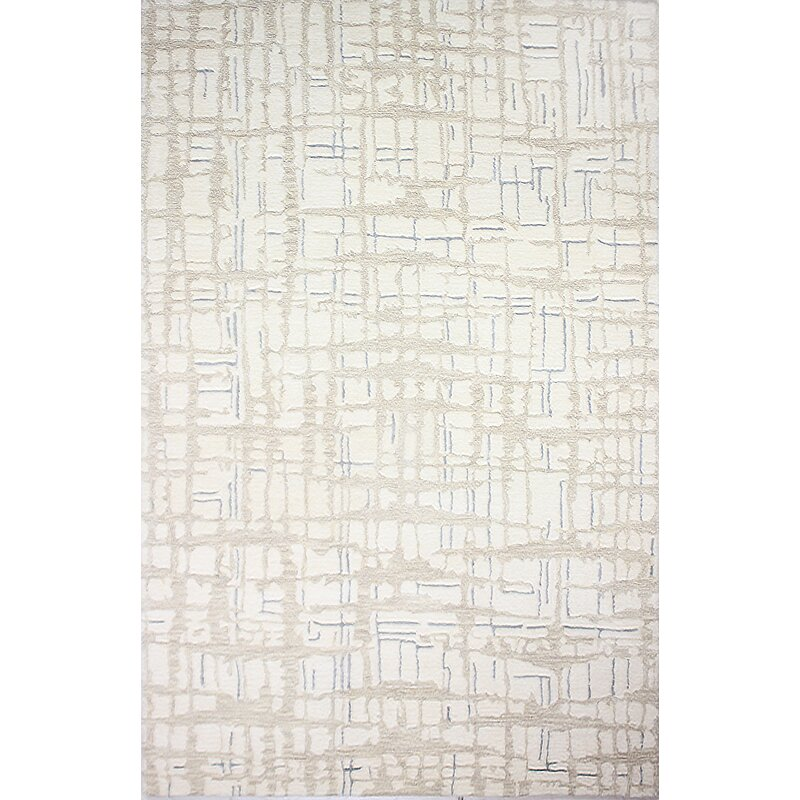 Williston Forge Goddard Artsilk Hand-Knotted Ivory Area Rug, Size: Rectangle 79 x 99