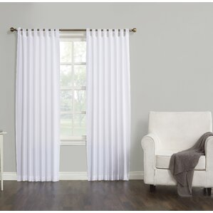 kelvin solid semisheer tab top single curtain panel