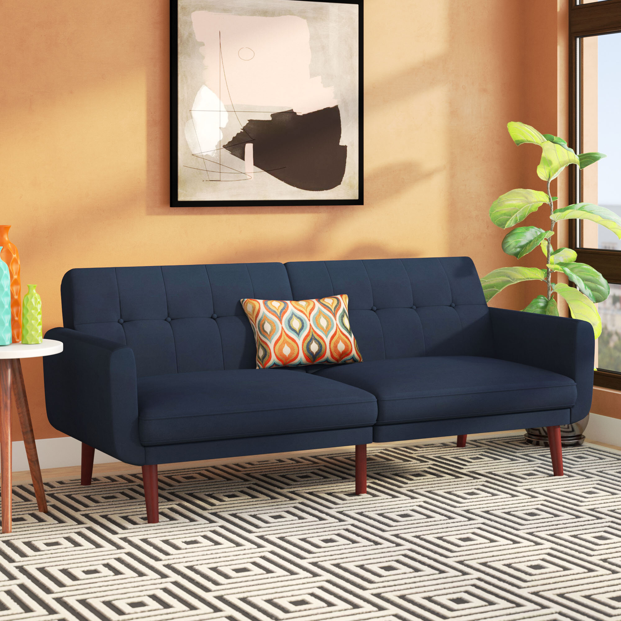 Langley Street Nathanael Modern Velvet Convertible Sofa Reviews Wayfair