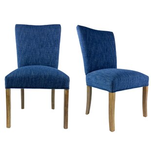 Knowlson Upholstered Parsons Chair in Denim Dark Blue Set of 2 by Rosecliff Heights