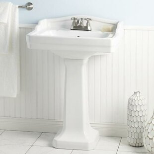 Reviews Essex Vitreous China 24 Pedestal Bathroom Sink with Overflow By Cheviot Products