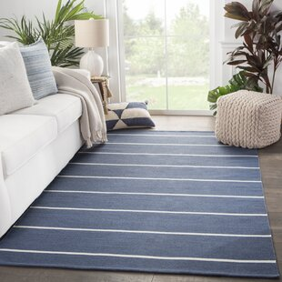 Mcfadden Stripes Handwoven Flatweave Dark Blue/Ivory Indoor/Outdoor Area Rug