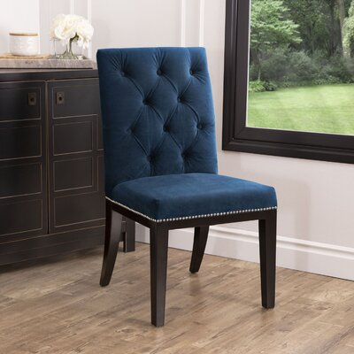 Blue Damask Parsons Dining Chair