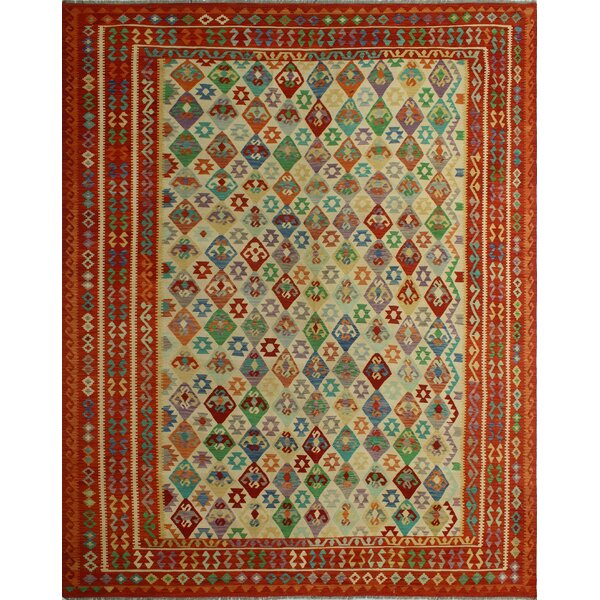 Foundry Select Hults Southwestern Handmade Kilim Wool Red Blue Green Area Rug Wayfair