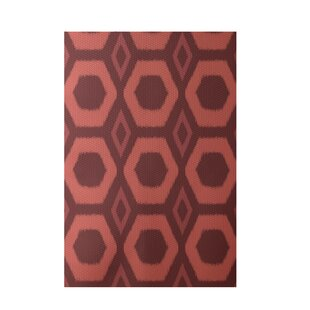 Geometric Hand-Woven Rust Indoor/Outdoor Area Rug