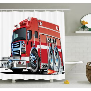 Myaa Fire Truck Rescue Team Shower Curtain Set