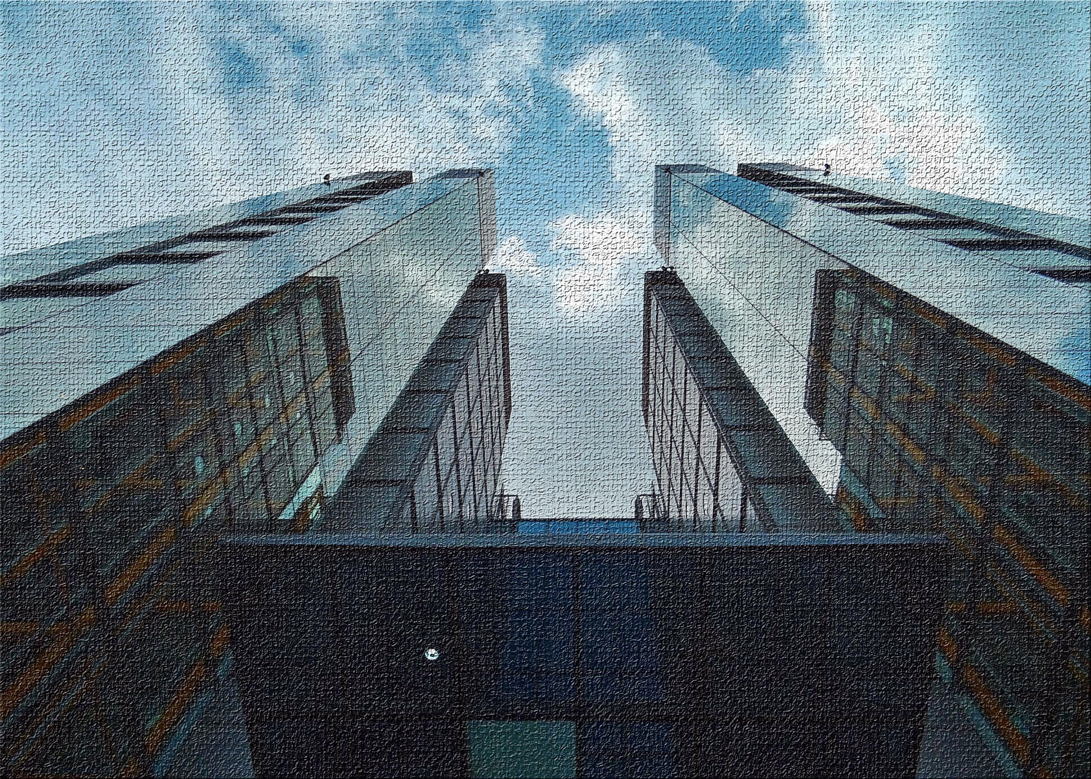 East Urban Home High Rise Buildings 8 Blue Area Rug Wayfair