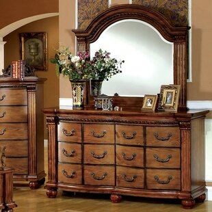 Fuselier 12 Drawer Double Dresser with Mirror