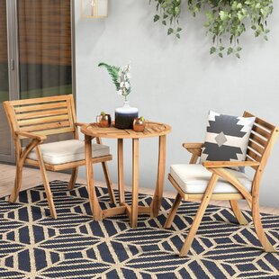 3 Piece Teak Bistro Set with Cushions