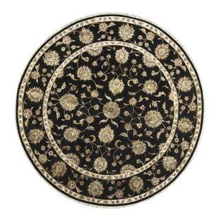 One-of-a-Kind Dharma Handwoven Round 8'3 Wool/Silk Black/Beige Area Rug ByBokara Rug Co., Inc.