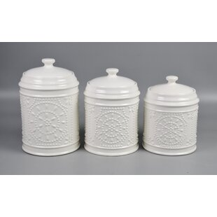Embossed 3 Piece Kitchen Canister Set