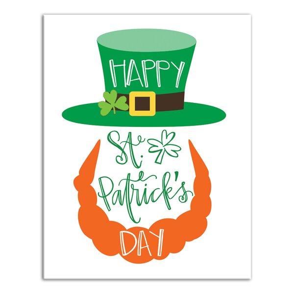 The Holiday Aisle Happy St Patrick S Day Leprechaun Wrapped Canvas Textual Art Print Wayfair
