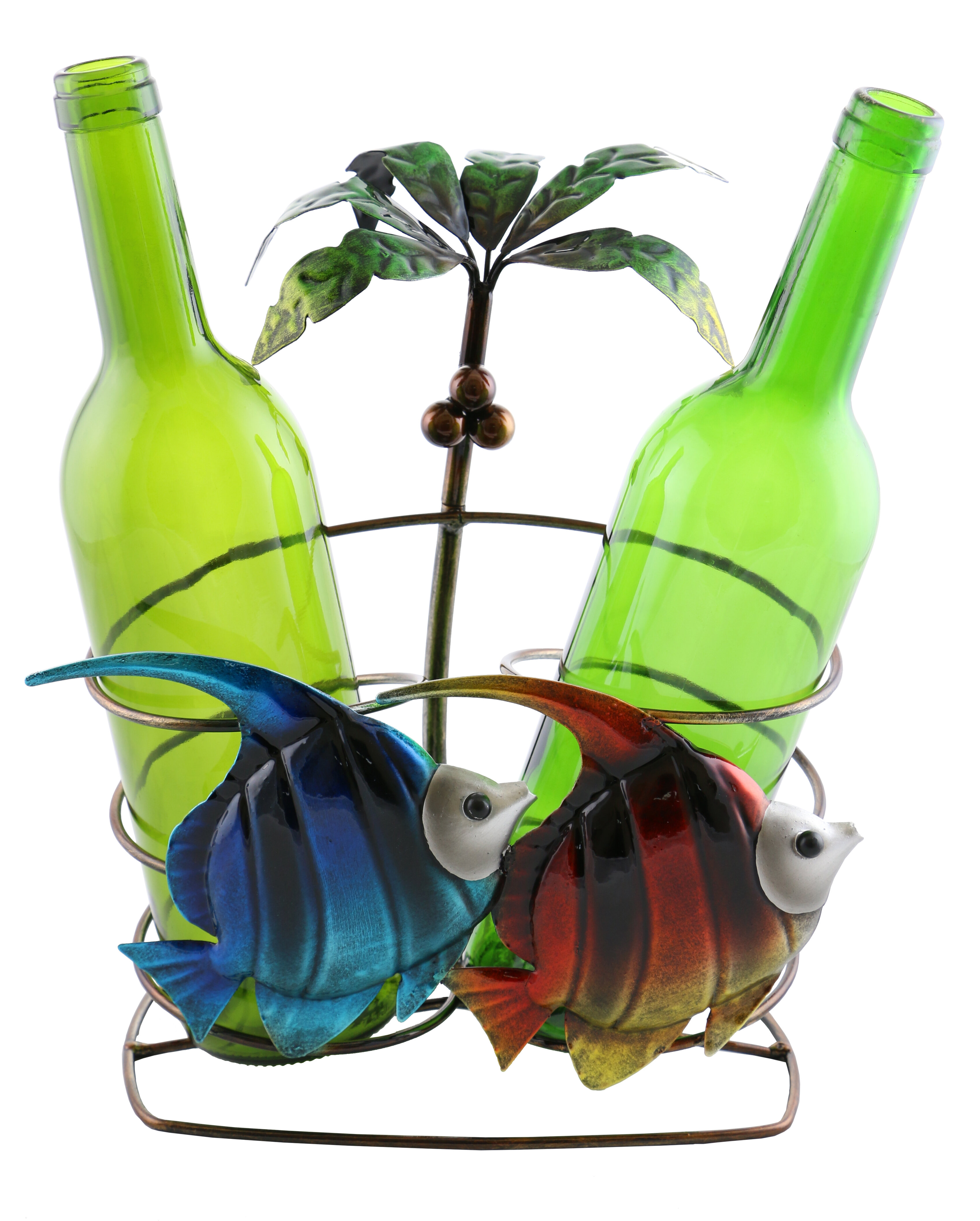 Wine Bodies Isabella Fish and Palm Tree 2 Bottle Tabletop Wine Rack ...