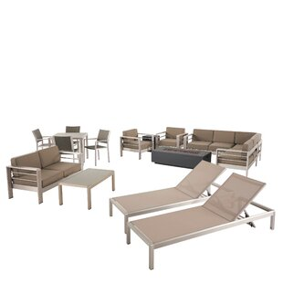 Smelley 14 Piece Rattan Complete Patio Set with Cushions