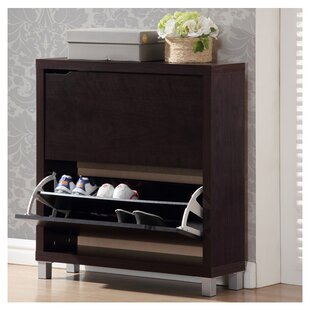 Rebrilliant 12 Pair Espresso Shoe Storage Cabinet